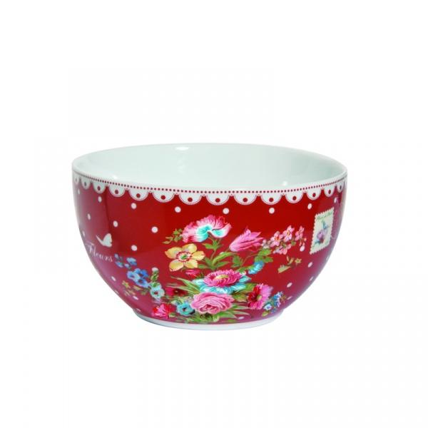 Miseczka z porcelany Nuova R2S Jardin Secret czerwona białe zdobienie 947 JAFR