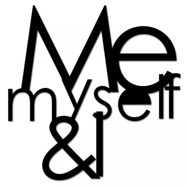 Napis 3D na ścianę DekoSign ME MYSELF & I czarny MMI1-1