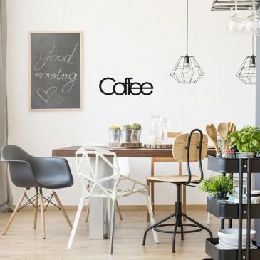 Napis na ścianę dekoracyjny DekoSign COFFE czarny