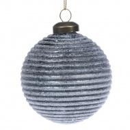 Niebieska tłoczona bombka 8 cm