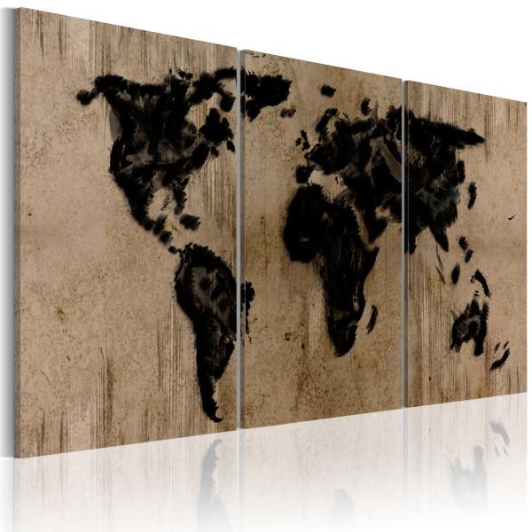 Obraz - Atramentowa mapa świata (60x30 cm) A0-N2025