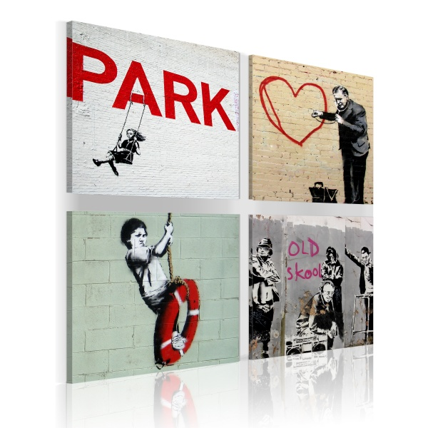 Obraz - Banksy - miejskie inspiracje (40x40 cm) A0-N1912