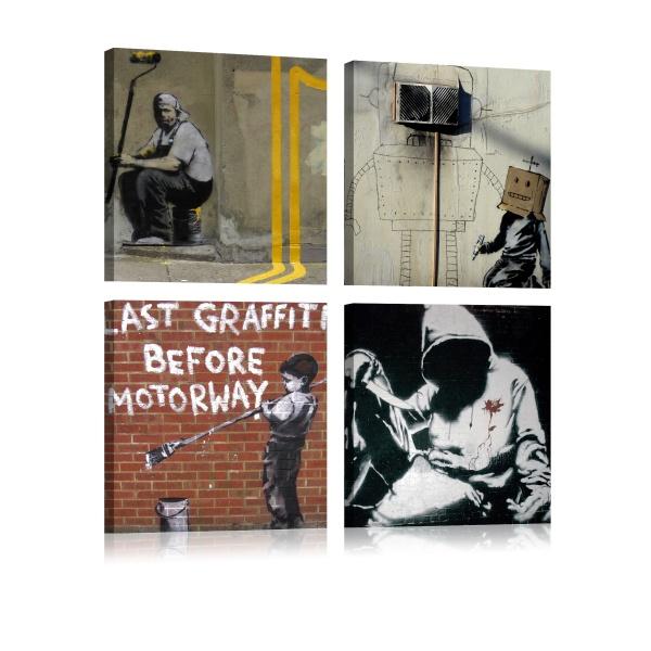 Obraz - Banksy - sztuka ulicy (40x40 cm) A0-N1914
