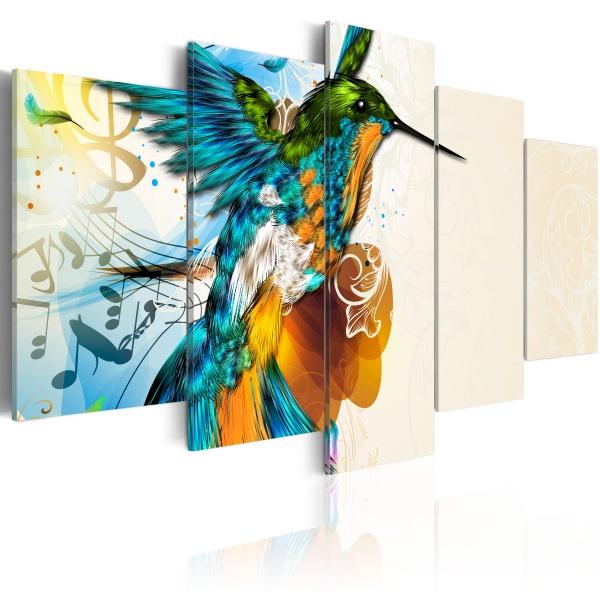 Obraz - Bird's music - 5 pieces (100x50 cm) A0-N2701