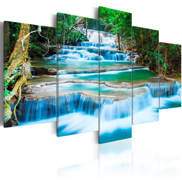 Obraz - Błękitny wodospad w Kanchanaburi, Tajlandia (100x50 cm) A0-N2776