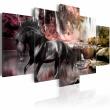 Obraz - Czarny koń na tle karmazynowego nieba A0-N1663