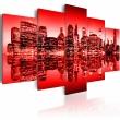 Obraz - Czerwona poświata nad Nowym Jorkiem - 5 częsci A0-N1830