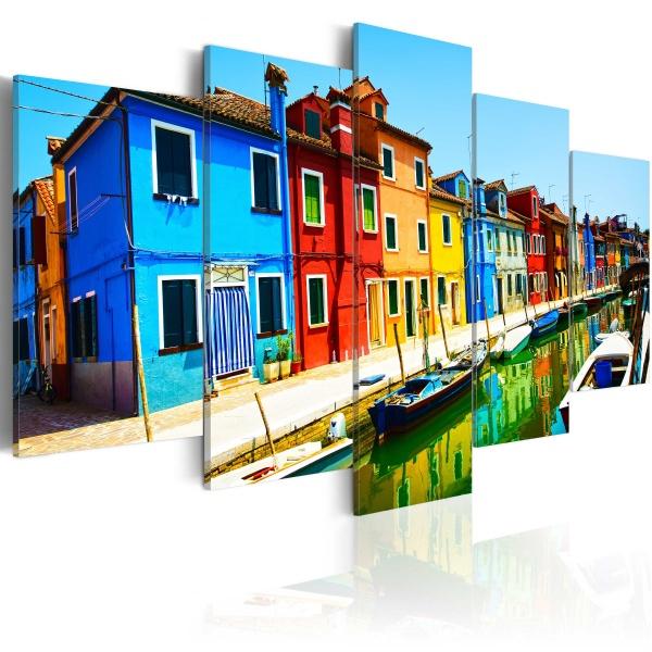 Obraz - Domy w kolorach tęczy (100x50 cm) A0-N3069