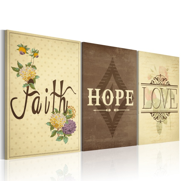 Obraz - Faith, Hope & Love (60x40 cm) A0-N2905