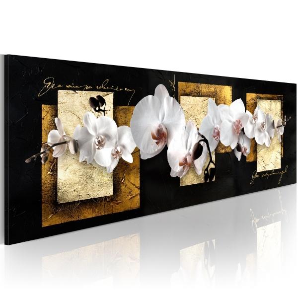Obraz - Finezyjna kompozycja z orchideą (120x40 cm) A0-N2456
