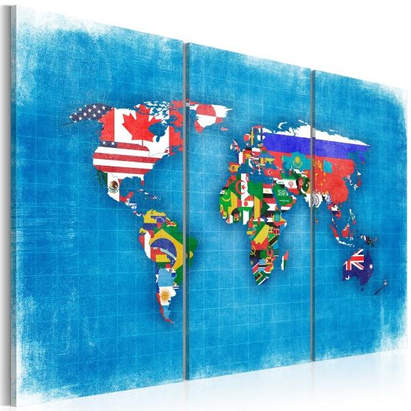 Obraz - Flagi świata - tryptyk (60x40 cm) A0-N2108