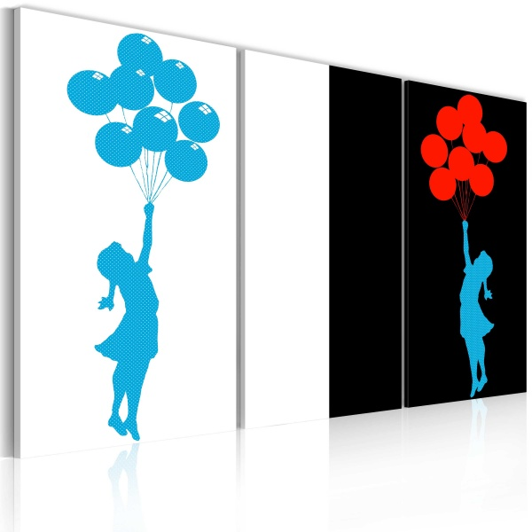 Obraz - Floating balloon girl - triptych (60x40 cm) A0-N2223