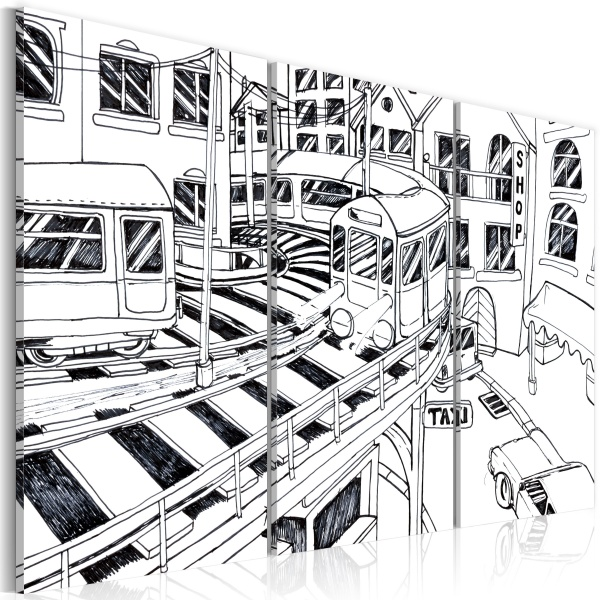 Obraz - Futurystyczna stacja kolejowa - black and white (60x40 cm) A0-N2211