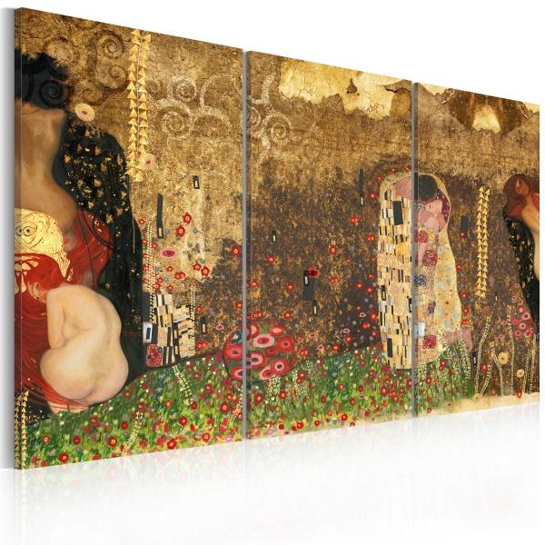 Obraz - Gustav Klimt - inspiracja, tryptyk (60x40 cm) A0-N2318