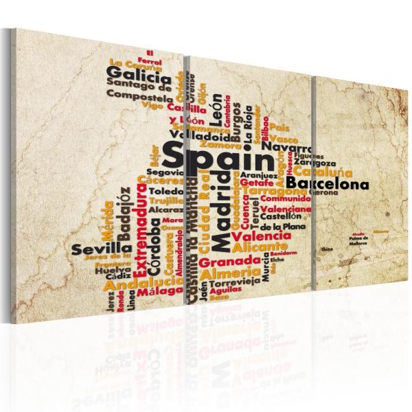 Obraz - Hiszpania: mapa w kolorach flagi narodowej (60x30 cm) A0-N2100