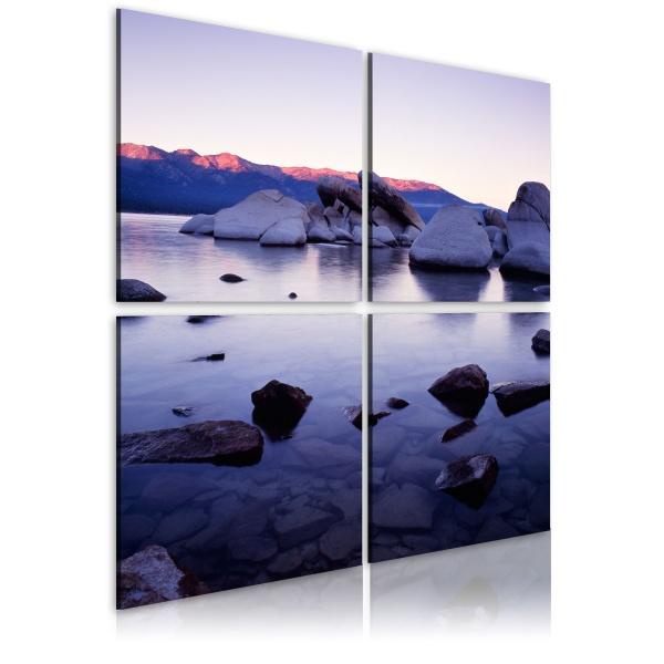 Obraz - Kamienisty brzeg alpejskiego jeziora (40x40 cm) A0-N1934