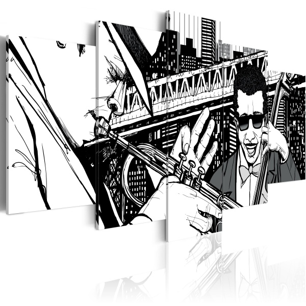 Obraz - Koncert jazzowy na tle nowojorskich wieżowców - 5 częsci (100x50 cm) A0-N1847