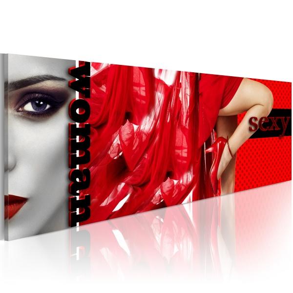 Obraz - Kusicielka w czerwieni (120x40 cm) A0-N2857
