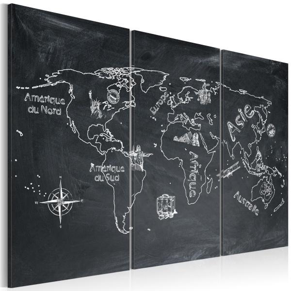Obraz - Lekcja geografii (Język francuski) - tryptyk (60x40 cm) A0-N2128