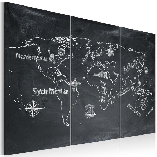Obraz - Lekcja geografii (Język szwedzki) - tryptyk (60x40 cm) A0-N2130