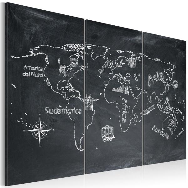 Obraz - Lekcja geografii (Język włoski) - tryptyk (60x40 cm) A0-N2129