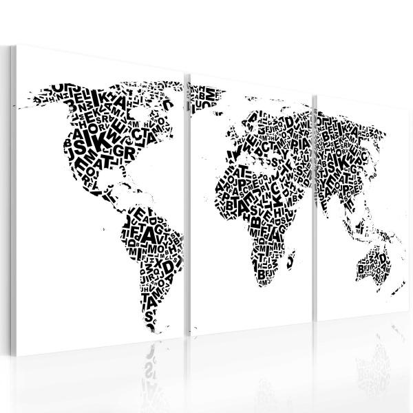 Obraz - Litery i kontynenty (60x30 cm) A0-N2080
