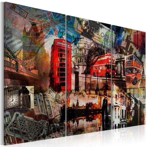 Obraz - Londyński kolaż - tryptyk (60x40 cm) A0-N1856