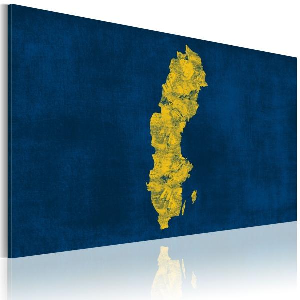 Obraz - Malowana mapa Szwecji (60x40 cm) A0-N2177