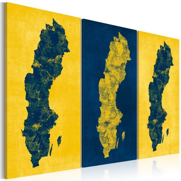 Obraz - Malowana mapa Szwecji - tryptyk (60x40 cm) A0-N2125