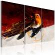 Obraz - Mały ptaszek na czerwono-białym tle A0-N1440