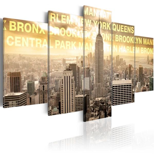 Obraz - Manhattan, Queens, Bronx, Central Park ... (100x50 cm) A0-N3049
