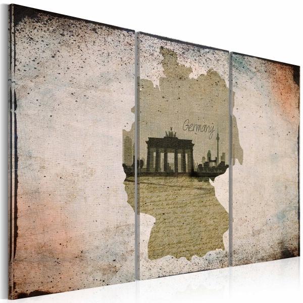 Obraz - map: Germany, Brandenburg Gate - triptych (60x40 cm) A0-N2121