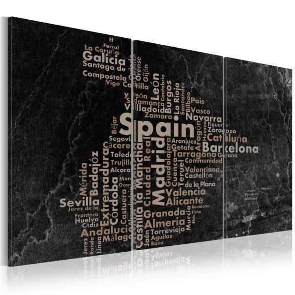 Obraz - Map of Spain on the blackboard - triptich (60x30 cm) A0-N2066