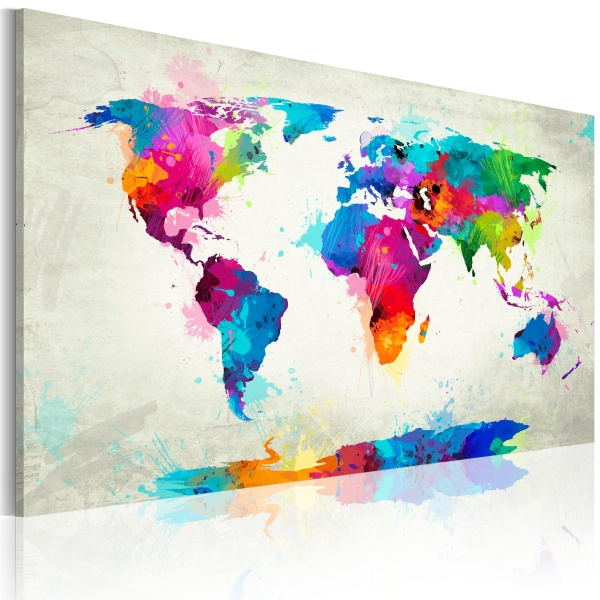 Obraz - Map of the world - an explosion of colors (60x40 cm) A0-N2538