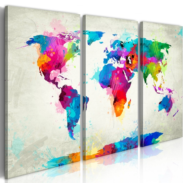 Obraz - Map of the world - an explosion of colors (triptych) (60x40 cm) A0-N2527