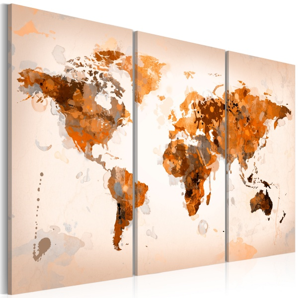 Obraz - Map of the World - Desert storm - triptych (60x40 cm) A0-N2530
