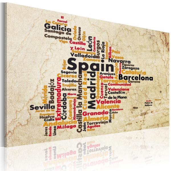 Obraz - Mapa: Hiszpańskie miasta (60x40 cm) A0-N2183