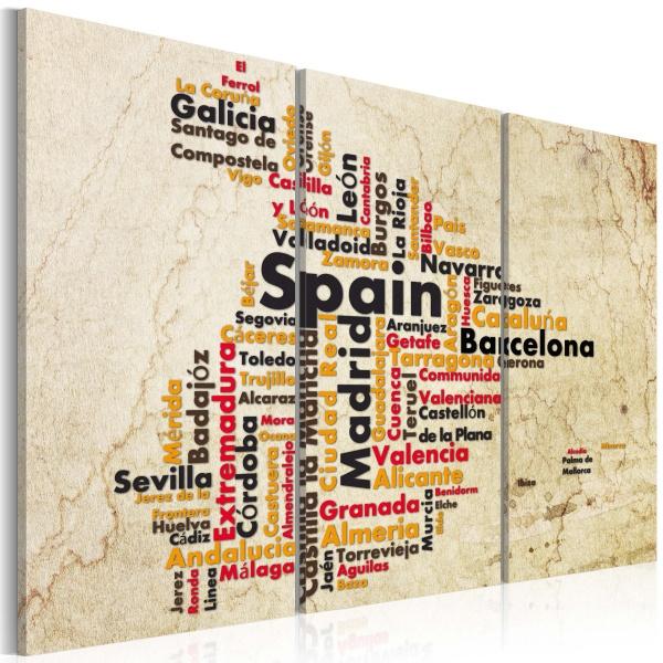 Obraz - Mapa: Hiszpańskie miasta - tryptyk (60x40 cm) A0-N2132