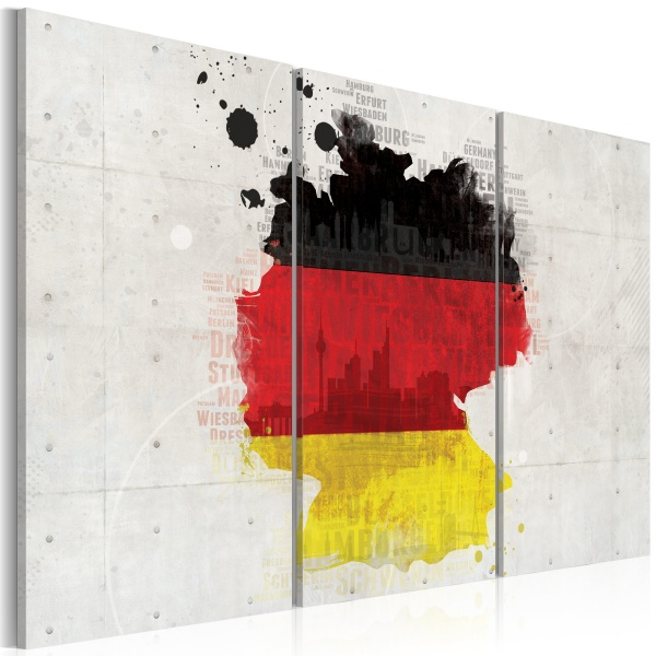 Obraz - Mapa Niemiec - tryptyk (60x40 cm) A0-N2065