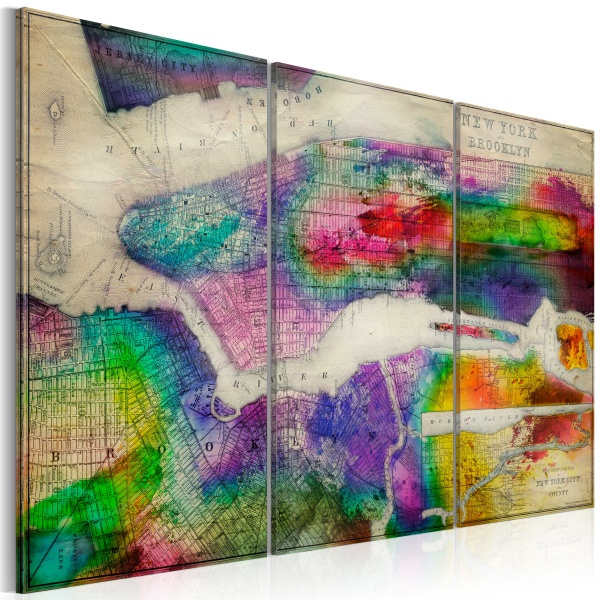 Obraz - Mapa Nowego Jorku: Brooklyn (60x40 cm) A0-N3092