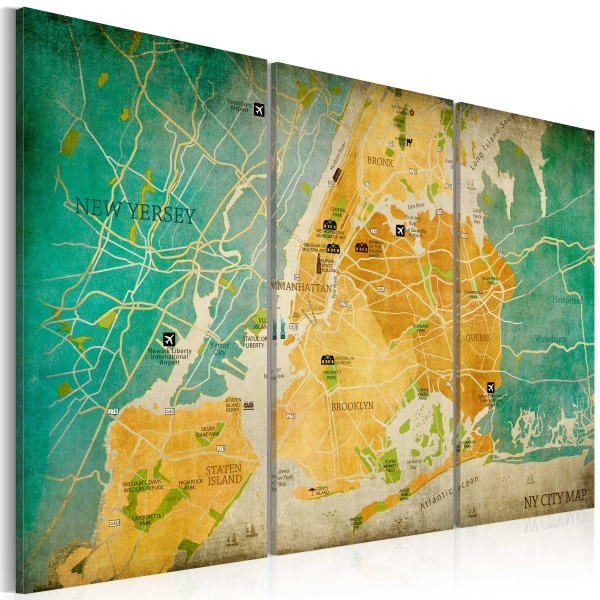 Obraz - Mapa Nowego Jorku: dzielnice (60x40 cm) A0-N3094
