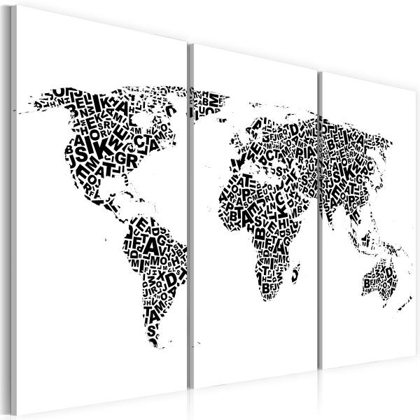 Obraz - Mapa świata - alfabet - tryptyk (60x40 cm) A0-N2103