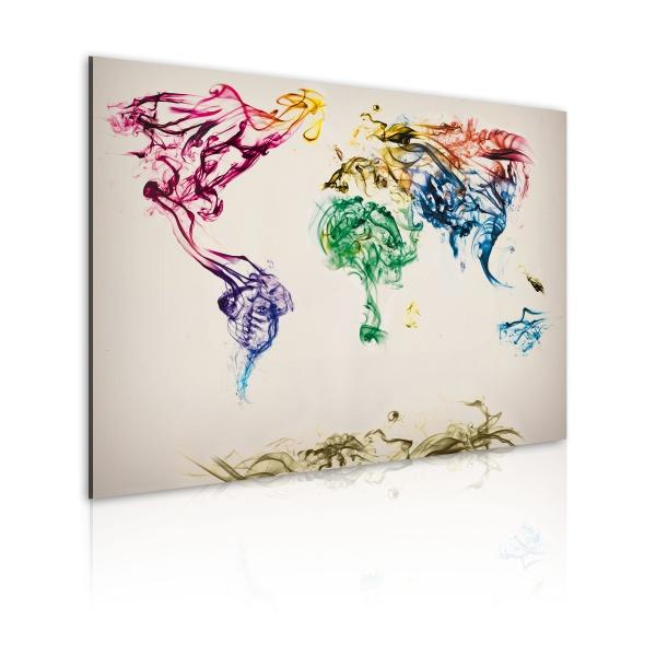 Obraz - Mapa świata - barwne smugi dymu (60x40 cm) A0-N2033