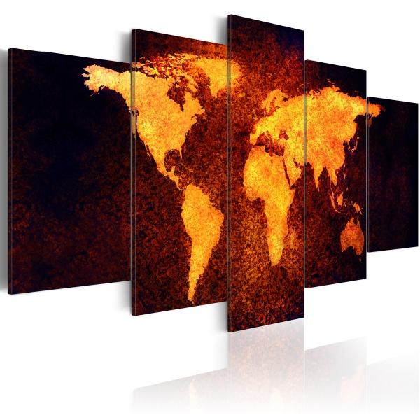Obraz - Mapa świata - Gorąca lawa (100x50 cm) A0-N2621