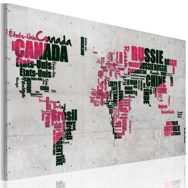 Obraz - Mapa świata (Język francuski) (60x40 cm) A0-N2199