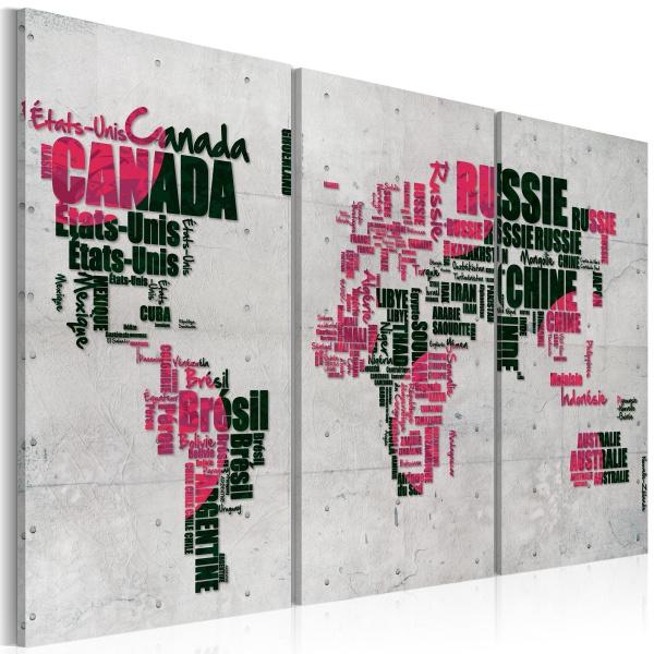 Obraz - Mapa świata (Język francuski) - tryptyk (60x40 cm) A0-N2147