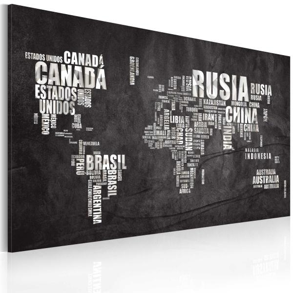 Obraz - Mapa świata (Język hiszpański) (60x40 cm) A0-N2195