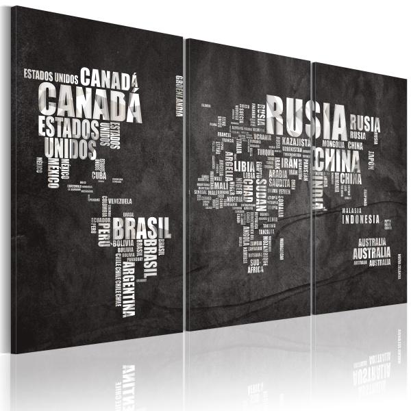Obraz - Mapa świata (Język hiszpański) - tryptyk (60x40 cm) A0-N2143