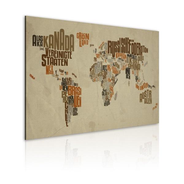 Obraz - Mapa świata (Język niemiecki) (60x40 cm) A0-N2188