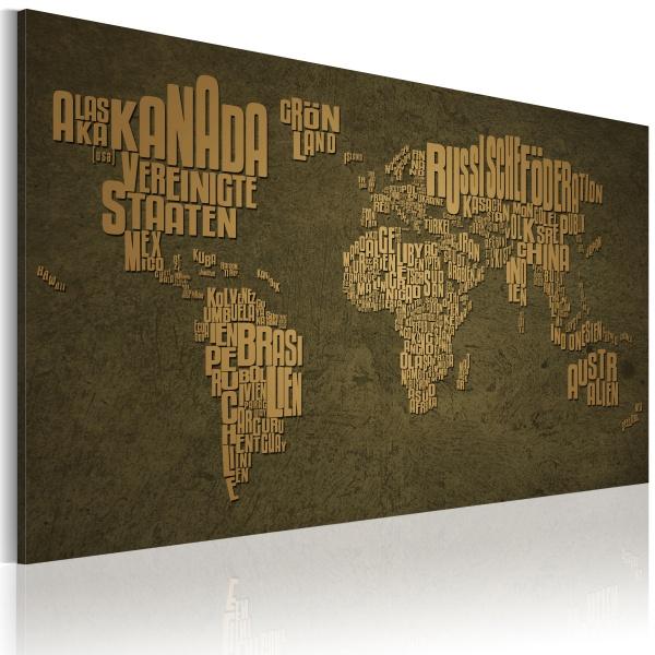 Obraz - Mapa świata, język niemiecki: beżowe kontynenty (60x40 cm) A0-N2189
